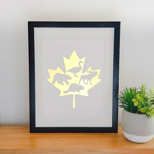Maple Leaf Wall Art Real Gold Foil Print